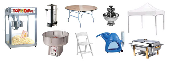 Event equipment rental, party supply rentals such as snow cone machine rental, cotton candy machine rental.